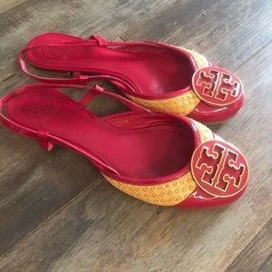 Tory Red Strap Back Flats
